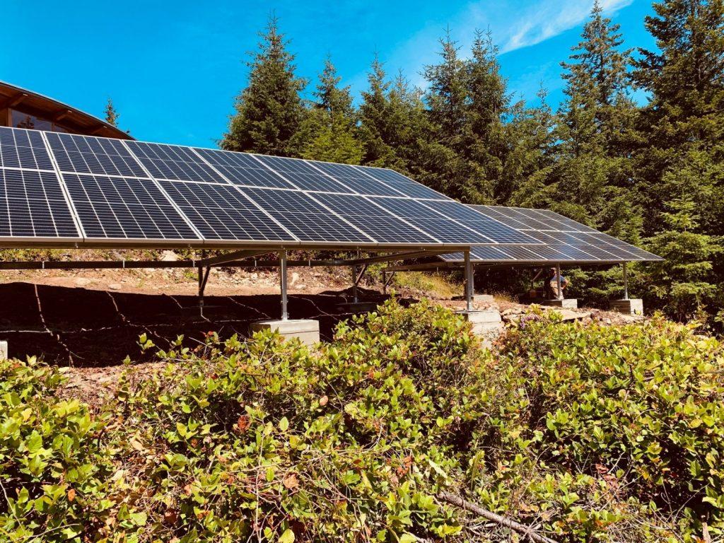 Ground mount solar panel installation on Salt Spring Island BC