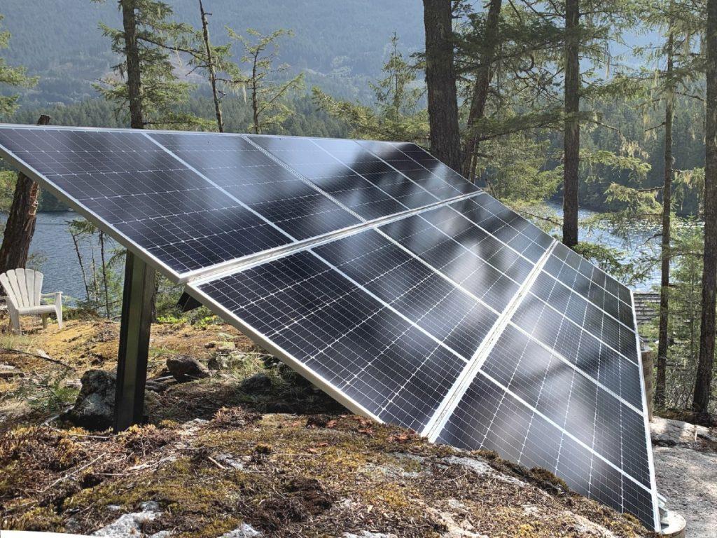 Off-grid ground mount solar panel installation Sunshine Coast BC