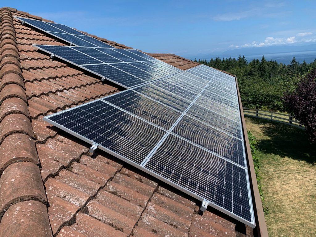 tile roof rooftop solar panel installation in Lantzville BC